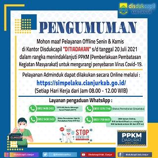 Penutupan Sementara Layanan Offline Senin & Kamis di Kantor Disdukcapil Cianjur